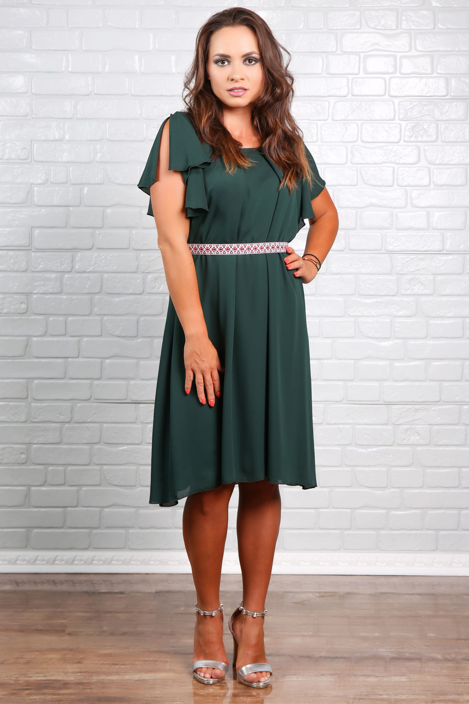 Rochie KAROLIN din voal Verde Inchis
