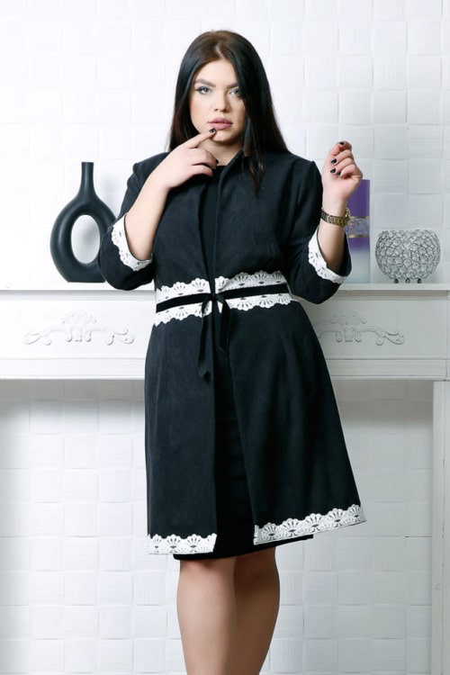 Compleu 2 piese negru compus din rochie si cardigan accesorizat cu dantela si catifea