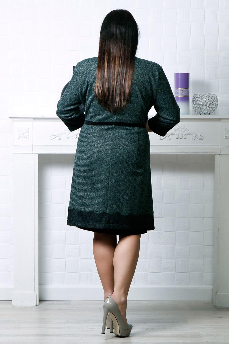 Compleu 2 piese vernil compus din rochie si cardigan accesorizat cu dantela si catifea de culoare