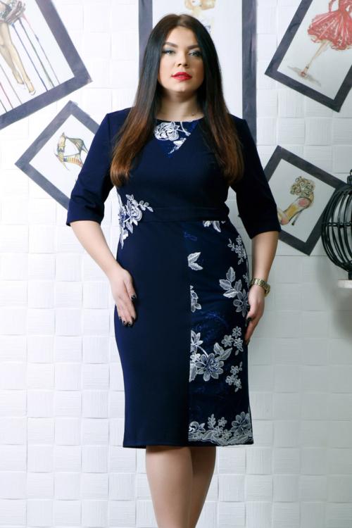Rochie de seara cu aplicatii manuale bleumarin