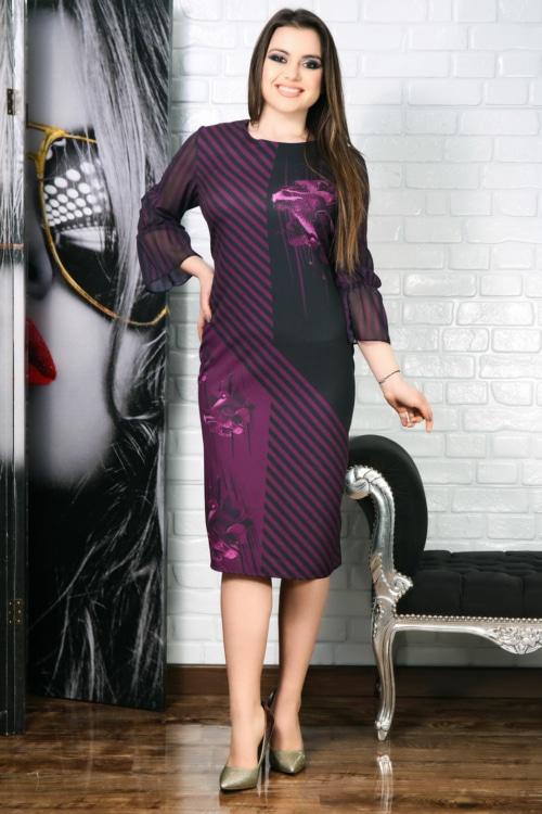 Rochie Ingrid negru si mov cu imprimeu 3D