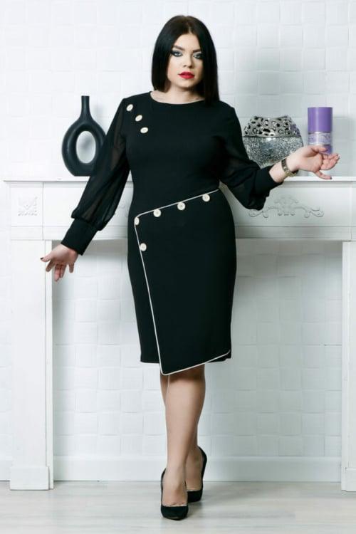 Rochie accesorizata cu nasturi si fusta petrecuta culoare negru