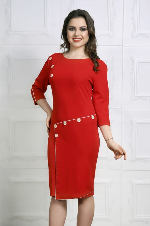 Rochie accesorizata cu nasturi si fusta petrecuta culoare rosie