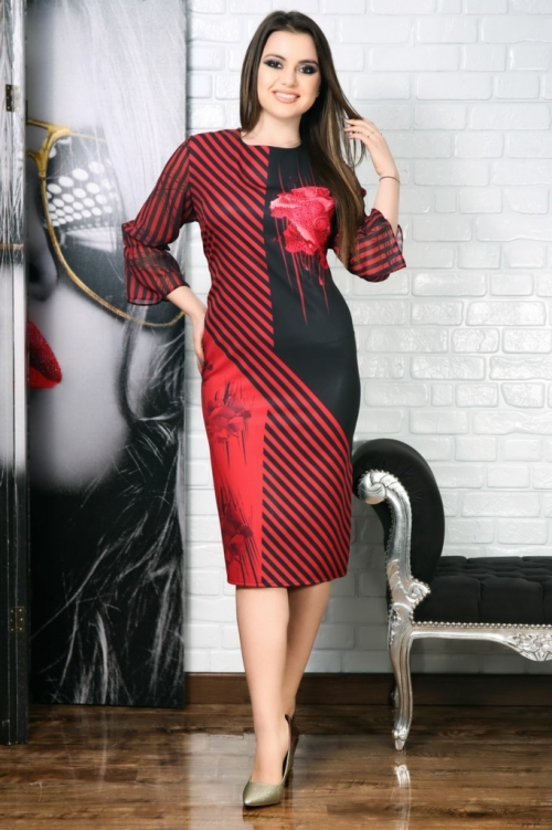 Rochie Ingrid negru si bordo cu imprimeu 3D