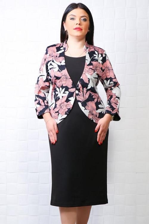 Rochie Mia negru cu imprimeu floral