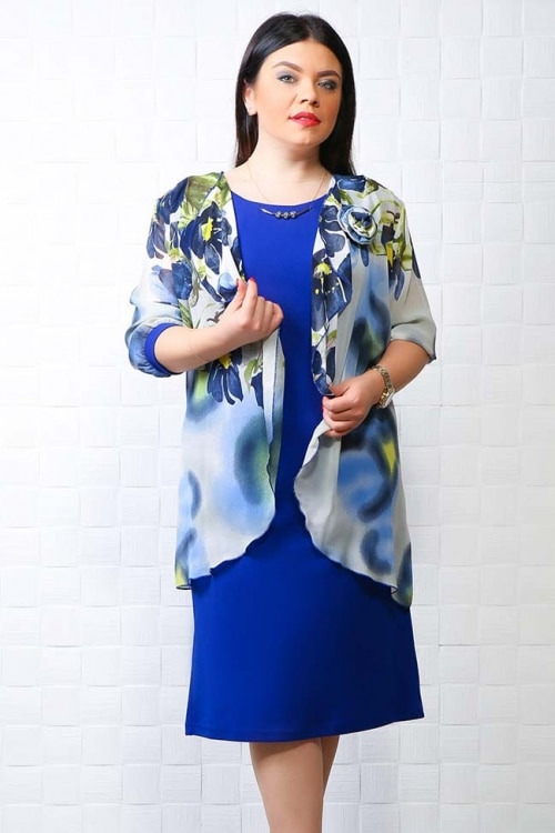Compleu rochie si bleizer albastru
