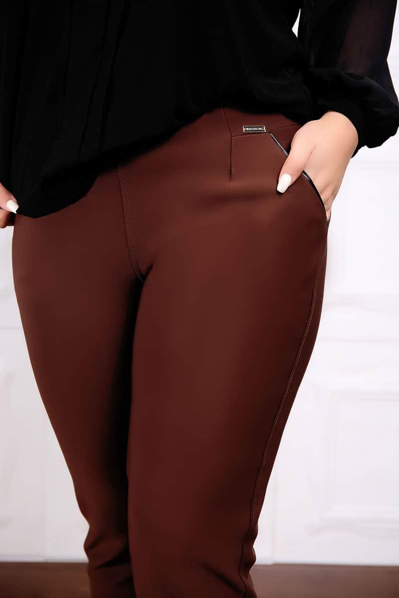 Set Doua Piese Pantalon si Bluzan Cafeniu